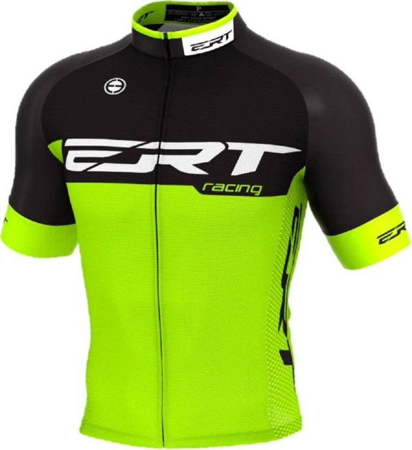 Camisa Ciclismo Ert Elite Racing Preto Verde Bike Slim Fit