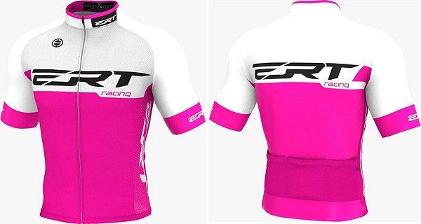 Camisa Ciclismo Ert Elite Racing Preto Rosa Bike Slim Fit