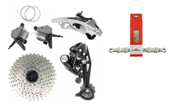 Kit Grupo 27v High One Mtb Conjunto C/ Corrente Sunrace 9v