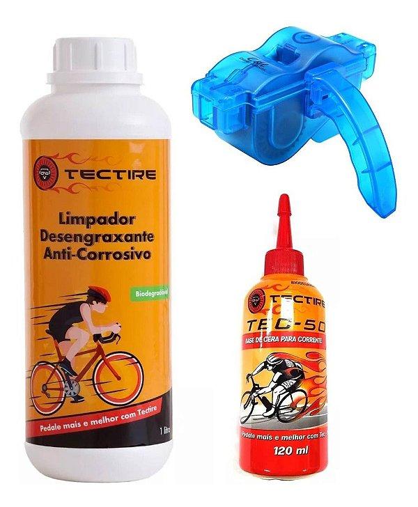Kit Bike Desengraxante 1l + Óleo Cera + Limpador Corrente