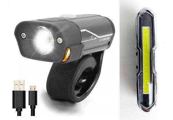 Kit Premium Lanterna + Farol Bike Recarregável Usb Led L2