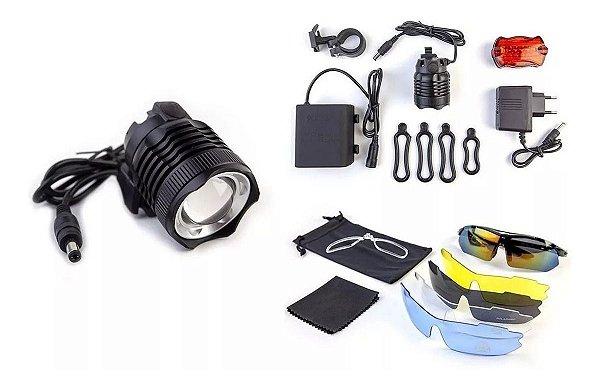 Farol T6 Cree Lanterna Bike Bateria 6 Cel + Óculos C 5 Lente