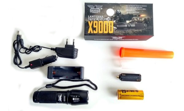 Lanterna Tática Militar Recarregável X9000 Led Cree + Forte