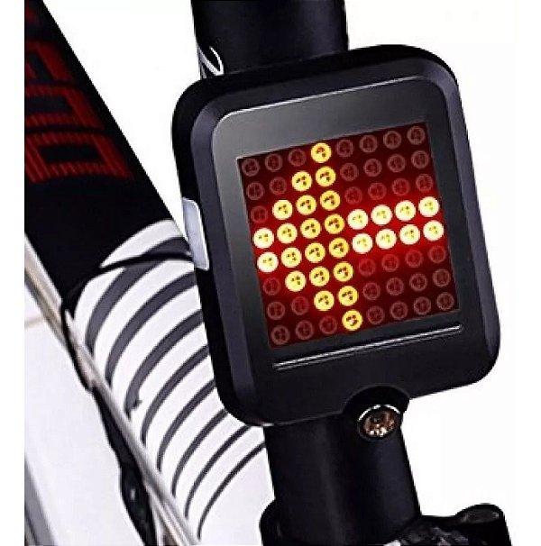 Lanterna Bike Traseira Automática Seta Luz Freio 64 Leds Usb