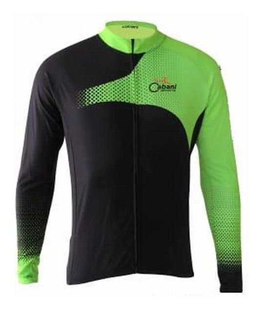 Camisa Ciclismo Cabani Sprint Preta Verde Manga Longa Bike Mtb Speed