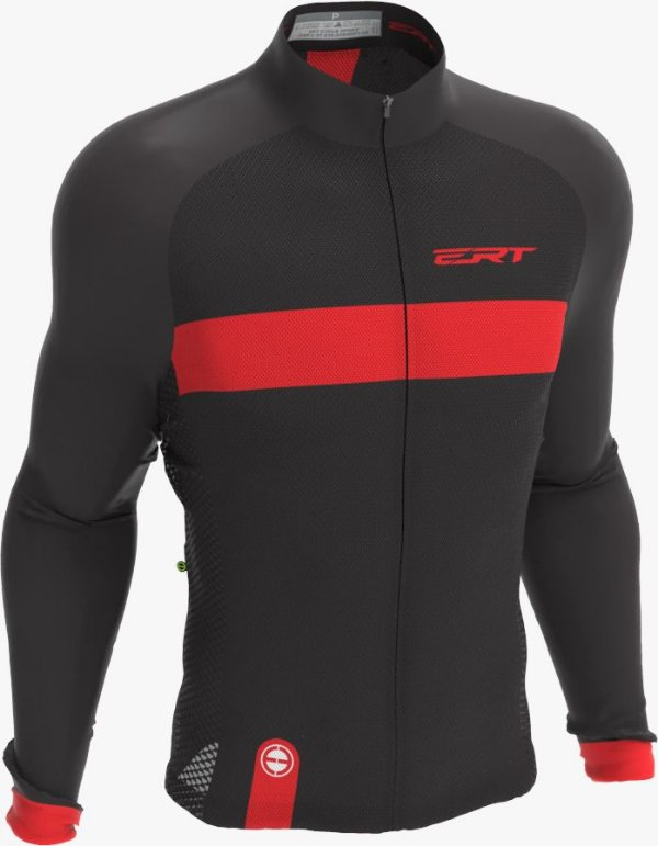 Camisa Manga Longa Ciclismo Ert New Tour Strip Black Red