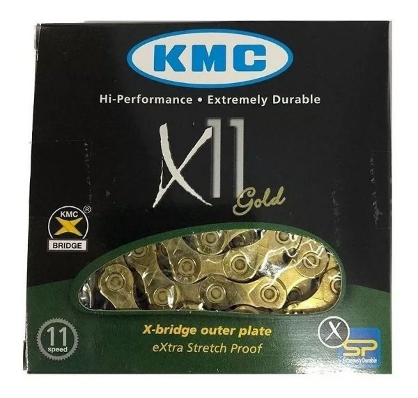 Corrente Kmc X11 11v Dourada 116l Gold Bike Mtb E Speed