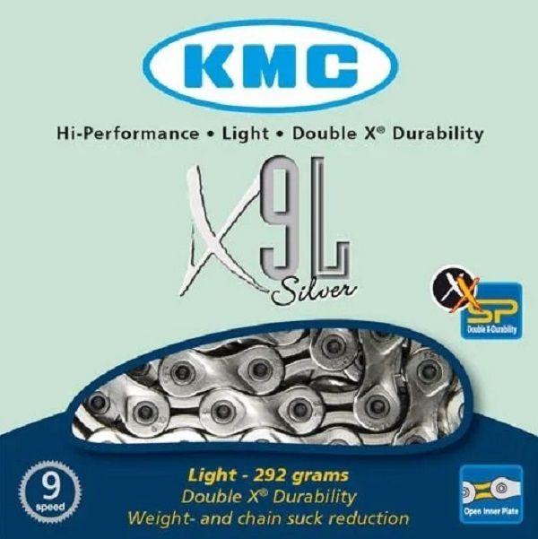 Corrente 9v Kmc X-9l Light Semi Vazada Prata Bike MTB Speed