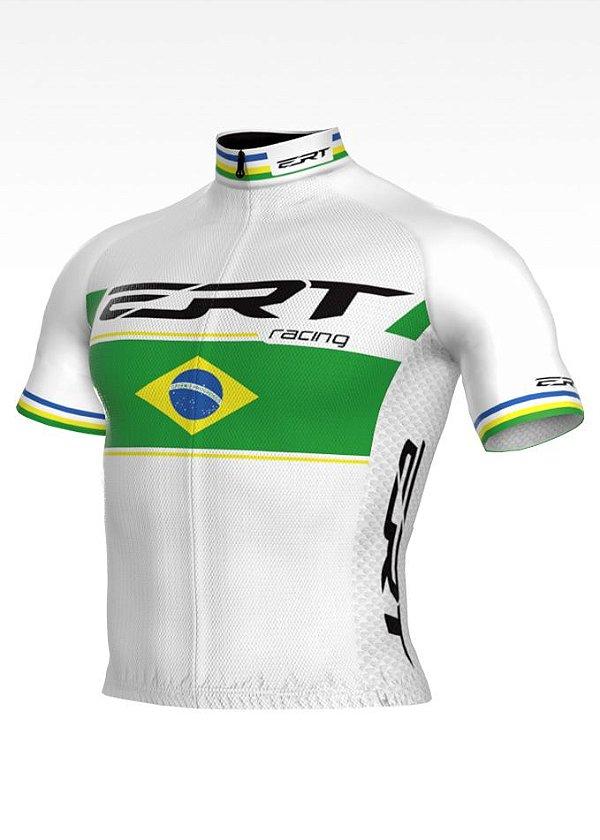 Camisa Ciclismo Elite ERT Racing Campeão Brasileiro Branca