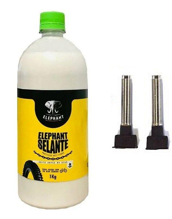 Selante Tubeless Elephant 1 L Pneu Bike + Kit De Válvulas