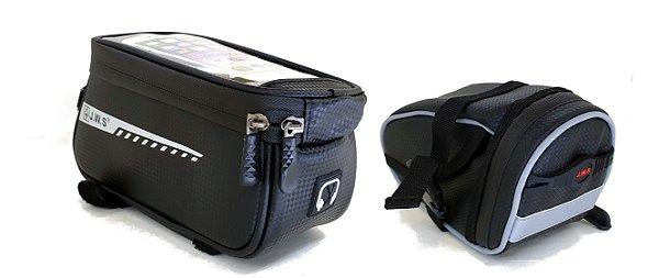 Bolsa Case Quadro Porta Celular Objetos + Bolsa Selim Bike
