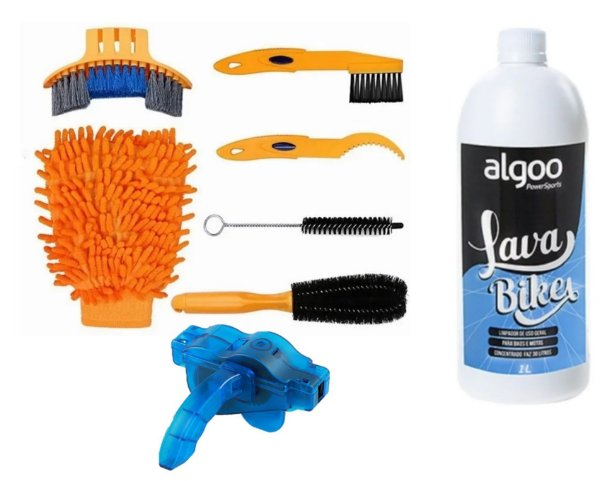 Kit Limpeza Bike 6 Pçs + Máquina Limp. Corrente + Shampoo 1L