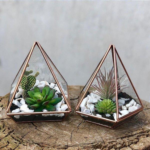 Kit de Terrários Pirâmide e Pentagonal M Cobre
