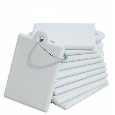 Chaveiro 10 unidade, de Polímero Quadrado, Branco, Personalizado - Darosaa