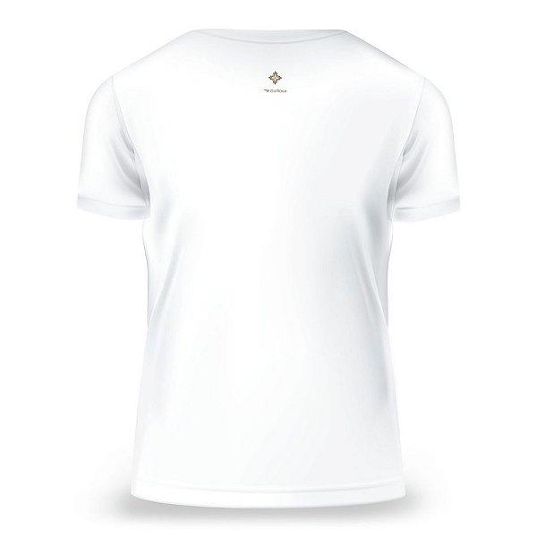 Camiseta Baby Look Religião, Branca, Feminina