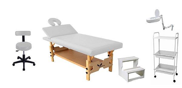 Kit Estética Branco com Maca Fixa Reclinável, Escada, Carrinho, Mocho e Lupa Led