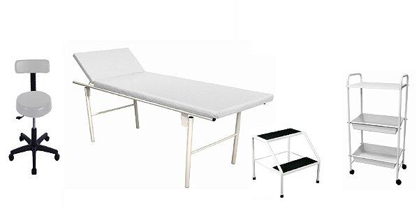 Kit Estética Branco com Maca Fixa Reclinável de Metal, Carrinho, Mocho e Escada de Metal