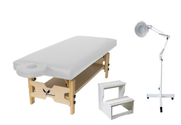 Kit Estética Branco com Maca Fixa, Escada e Lupa Led Tripé