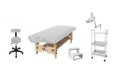 Kit Estética Branco com Maca Fixa, Carrinho, Escada, Lupa Led e Mocho