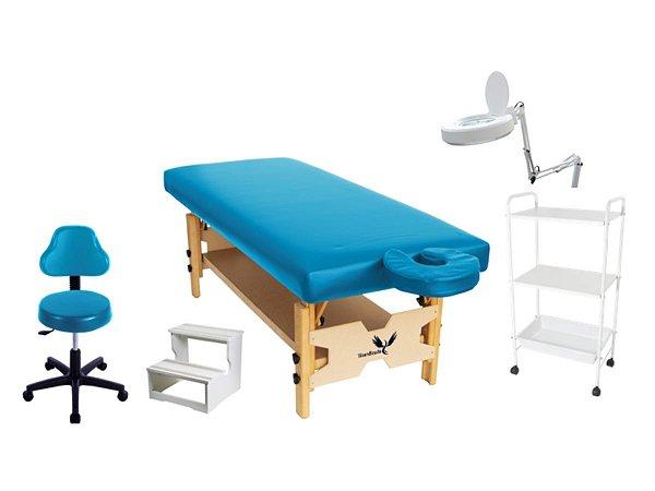 Kit Para Estética 5 Itens Maca Fixa Escada Carrinho Mocho Confort Lupa de Led