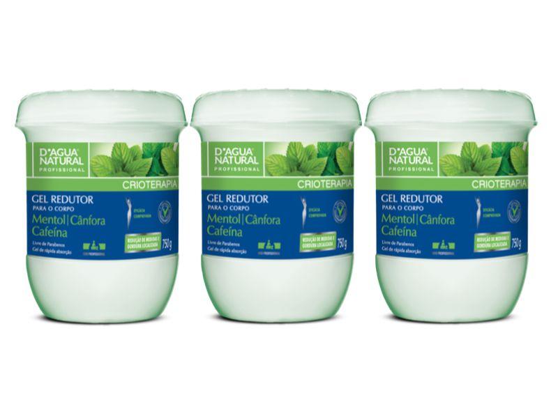 Kit Com 3 Gel Redutor Mentol Cânfora Cafeína D'agua Natural