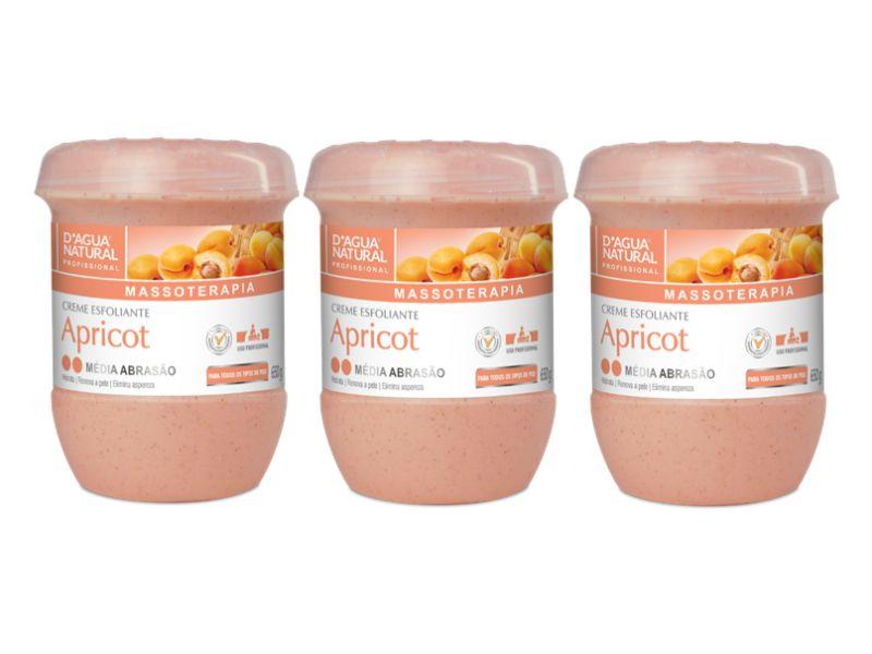 Kit Com 3 Cremes Esfoliante Apricot Média Abrasão D'agua Natural