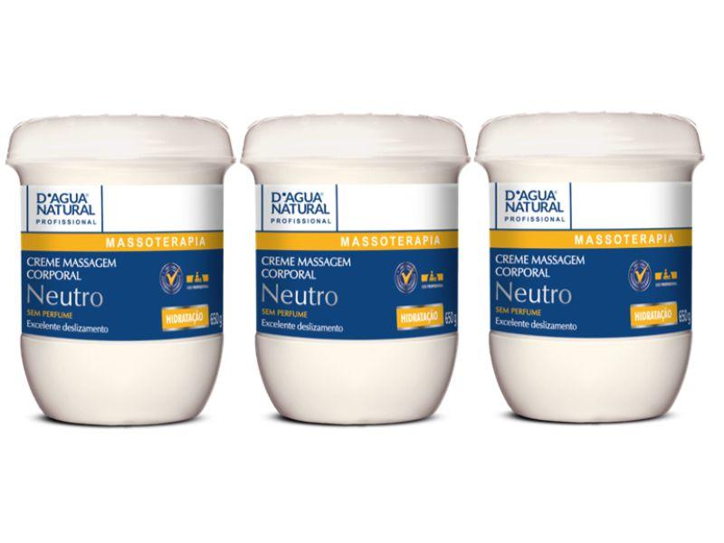 Kit Com 3 Cremes Neutro Para Massagem D'agua Natural