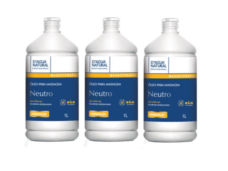 Kit Com 3 Óleo Neutro Massagem D'agua Natural