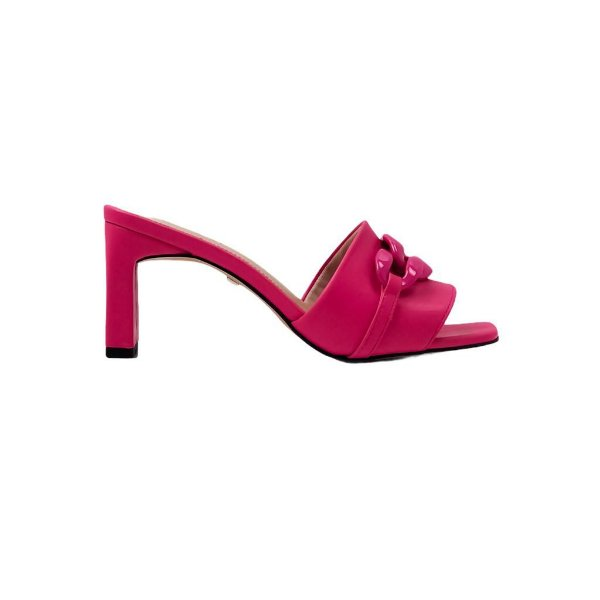 Tamanco Rosa Flamingo Elos Salto Quadrado