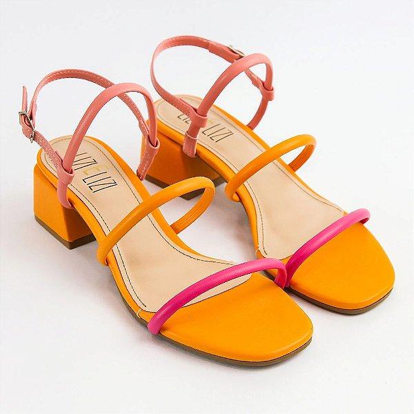 Sandália Girassole Colors Salto Bloco Médio
