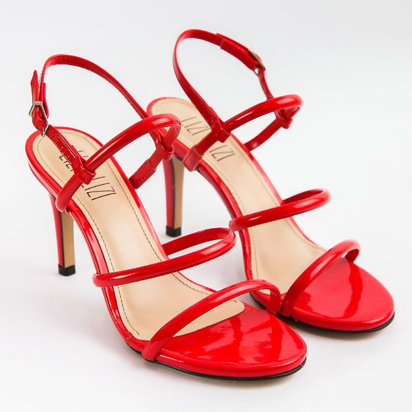 Sandália Vermelha Campari Verniz Salto Fino