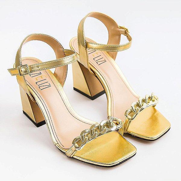 Sandália Ouro Elos Salto Flare