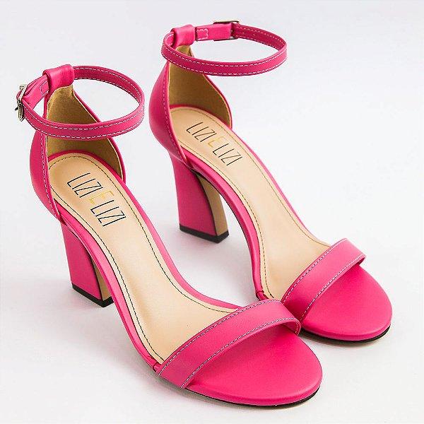 Sandália Rosa Flamingo Basic Salto Flare Slim