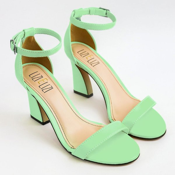 Sandália Verde Cloro Salto Flare Slim