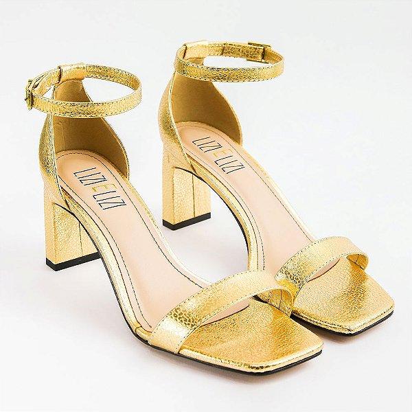 Sandália Ouro Metalizado Chita Salto Quadrado