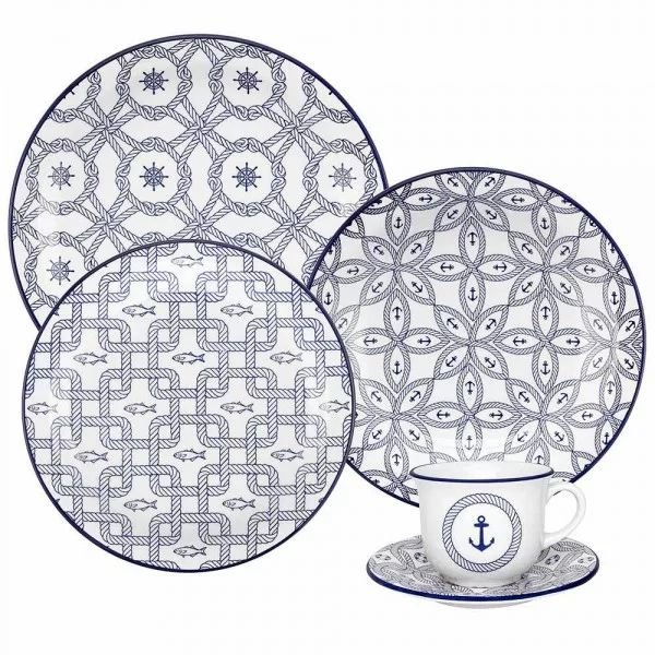 Aparelho de Jantar e  Chá Floreal Nautico - Oxford