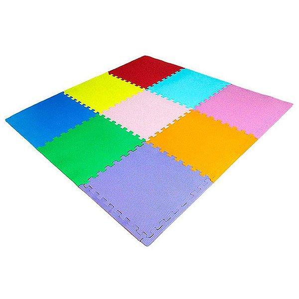 Kit 15 peças Colorido tatame 50cm x 50cm x 20mm + borda