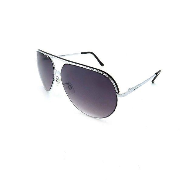 Óculos Solar Prorider Prata Detalhado Com Lente Degradê Fumê  - B88-86C1