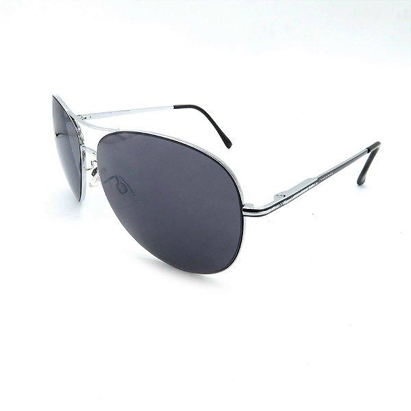 Óculos Solar Prorider Prata Detalhado Com Lente Fumê  - B88-85