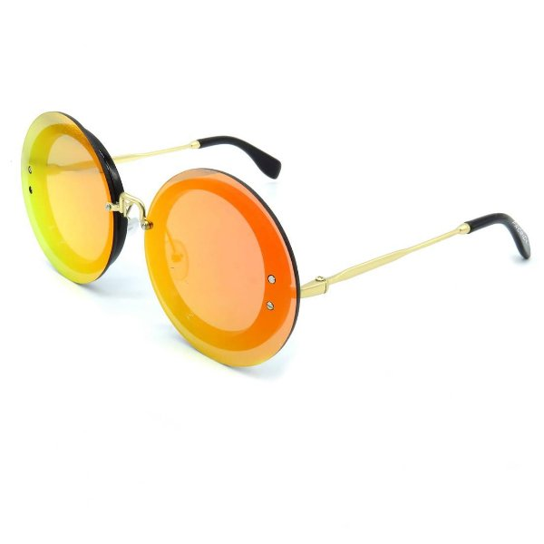 Óculos Solar Prorider Dourado Com lente Espelhada Redonda - S8627