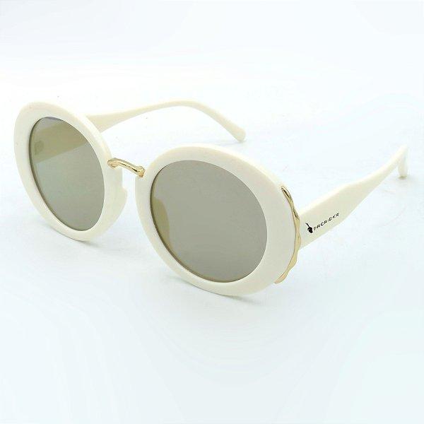 Óculos Solar Prorider Branco Com detalhe Dourado  com lente de Acetato - S8773