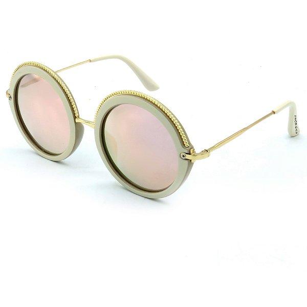 Óculos Solar Prorider Dourado e Bege com lente espelhada rosa - 13004