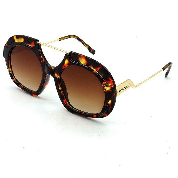 Óculos Solar Prorider Dourado e Animal Print Com lente Degrade - S8785C7