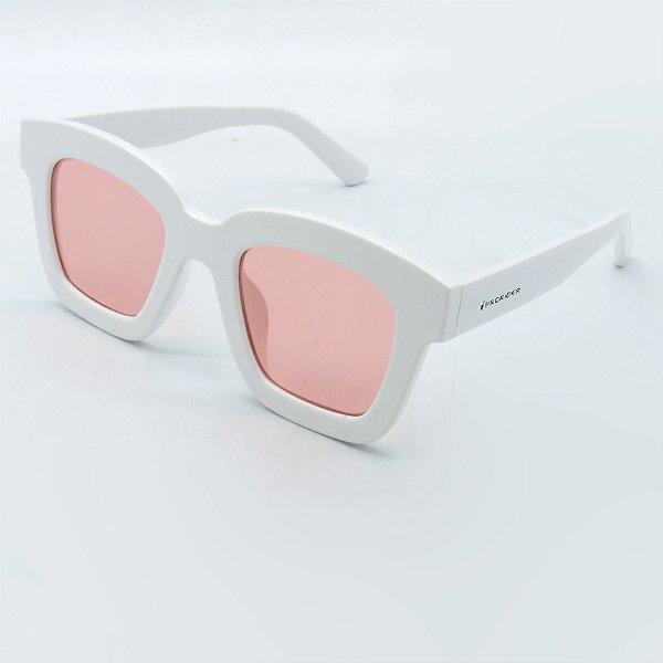 Óculos Solar Prorider Branco com lente fumê Rosa-ns342