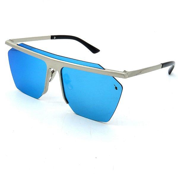 Óculos Solar Prorider Prata com lente fumê Azul-tr123