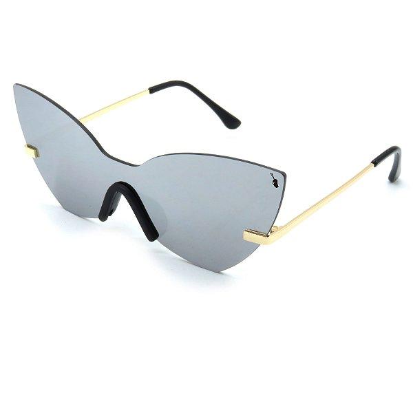 Óculos Solar Prorider Dourado com lente fumê Prata-nv321