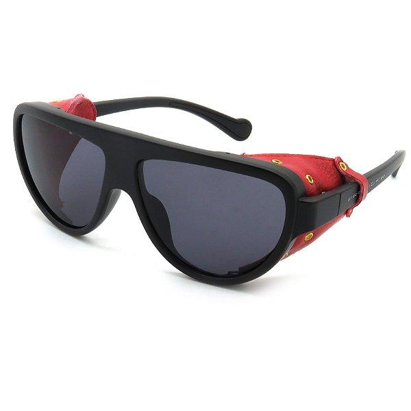 Óculos Solar Prorider Preto com detalhes imitando couro Vermelho -  R21113