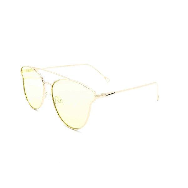 Óculos Solar Dark Face Dourado com lente Espelhada - B88-391