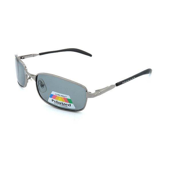 Óculos de Sol Retro Prorider Prata com Lente Fumê - POLC