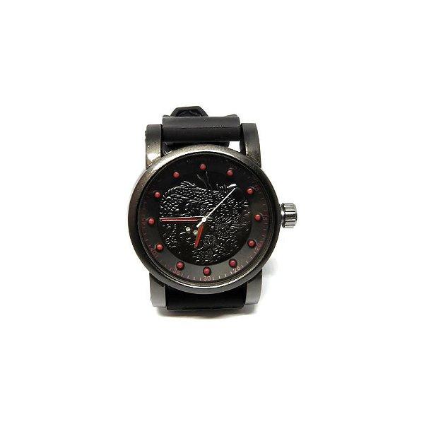 Relógio Dark face Preto com Detalhes em Vermelho - RLPD2020